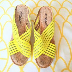 Lucky Brand Neon Yellow Cork Wedge Heels